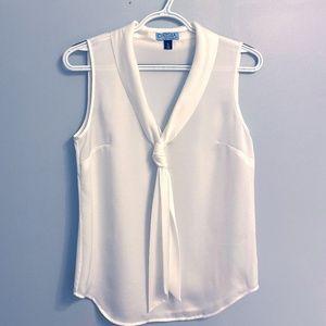 Cynthia Rowley Tops - Cynthia Rowley Sleeveless White Blouse with Tie